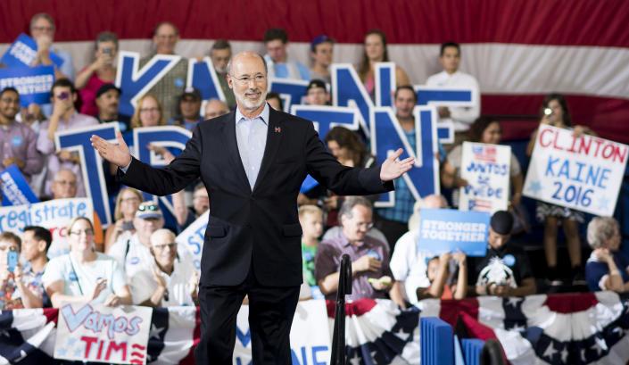 """<span class=""""s1"""">Pennsylvania's Democratic Gov. Tom Wolf speaks at a rally for Tim Kaine in 2016, when Kaine was Hillary Clinton's running mate. (Photo: Bill Clark/CQ Roll Call/Getty Images)</span>"""