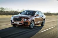 """<p>Starting at just over $250,000, Bentley's bug-eyed <a href=""""https://www.caranddriver.com/bentley/bentayga"""" rel=""""nofollow noopener"""" target=""""_blank"""" data-ylk=""""slk:Bentayga"""" class=""""link rapid-noclick-resp"""">Bentayga</a> is one of the most expensive SUVs on this list, and its one of only two with 12 cylinders. Powered by a twin-turbocharged 6.0-liter W-12 bolted to an eight-speed automatic transmission, the Bentayga is packing 600 hp and 664 lb-ft of torque behind its chrome grille. In <a href=""""https://www.caranddriver.com/reviews/a15101124/2017-bentley-bentayga-test-review/"""" rel=""""nofollow noopener"""" target=""""_blank"""" data-ylk=""""slk:our testing"""" class=""""link rapid-noclick-resp"""">our testing</a>, the big Bentley charged to 60 mph in 3.4 seconds (<a href=""""https://www.caranddriver.com/reviews/a33573782/2021-bentley-bentayga-v-8-by-the-numbers/"""" rel=""""nofollow noopener"""" target=""""_blank"""" data-ylk=""""slk:we managed 3.3 seconds with the 542-hp V-8"""" class=""""link rapid-noclick-resp"""">we managed 3.3 seconds with the 542-hp V-8 </a>) and touch 187 mph. In the Bentley Bentayga Speed, the engine is dialed up to 626 hp, which drops its claimed zero-to-60-mph time to a conservative 3.8 seconds and increases the SUVs top speed to 190 mph.</p><p><a class=""""link rapid-noclick-resp"""" href=""""https://www.caranddriver.com/bentley/bentayga/specs"""" rel=""""nofollow noopener"""" target=""""_blank"""" data-ylk=""""slk:MORE BENTAYGA SPEED SPECS"""">MORE BENTAYGA SPEED SPECS</a></p>"""