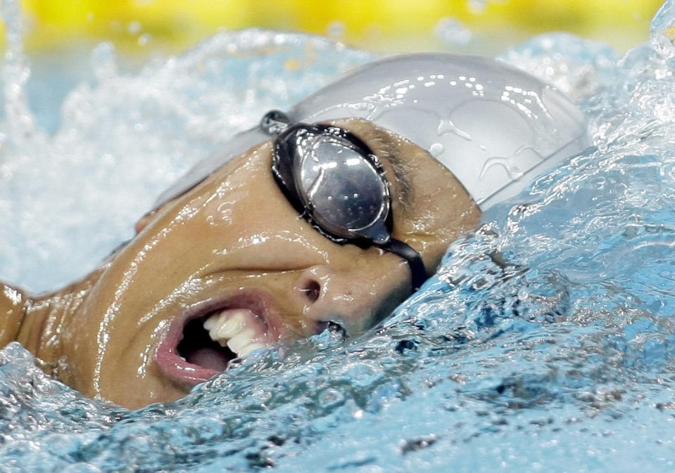 FILE - In this file photo dated Tuesday, Sept 9, 2008, Spain's Teresa Perales swims to a gold medal in the Women's 200m Freestyle S5 event at the 2008 Beijing Paralympic Games in Beijing. Paralympic champion swimmer Teresa Perales has won Spain's annual Princess of Asturias award for sports, it is announced Wednesday June 2, 2021.(AP Photo/Greg Baker, FILE)