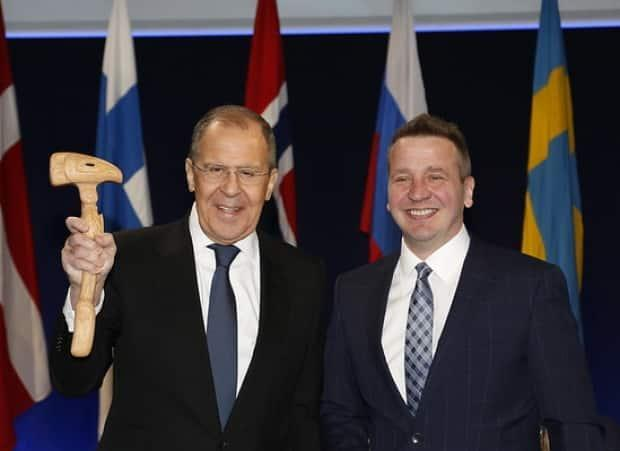 Icelandic Minister for Foreign Affairs and International Development Cooperation Gudlaugur Thór Thórdarson hands the Arctic Council gavel to Russian Minister for Foreign Affairs Sergey Lavrov signifying the passing of the Arctic Council chairmanship. Lavrov will hold the chair until 2023.