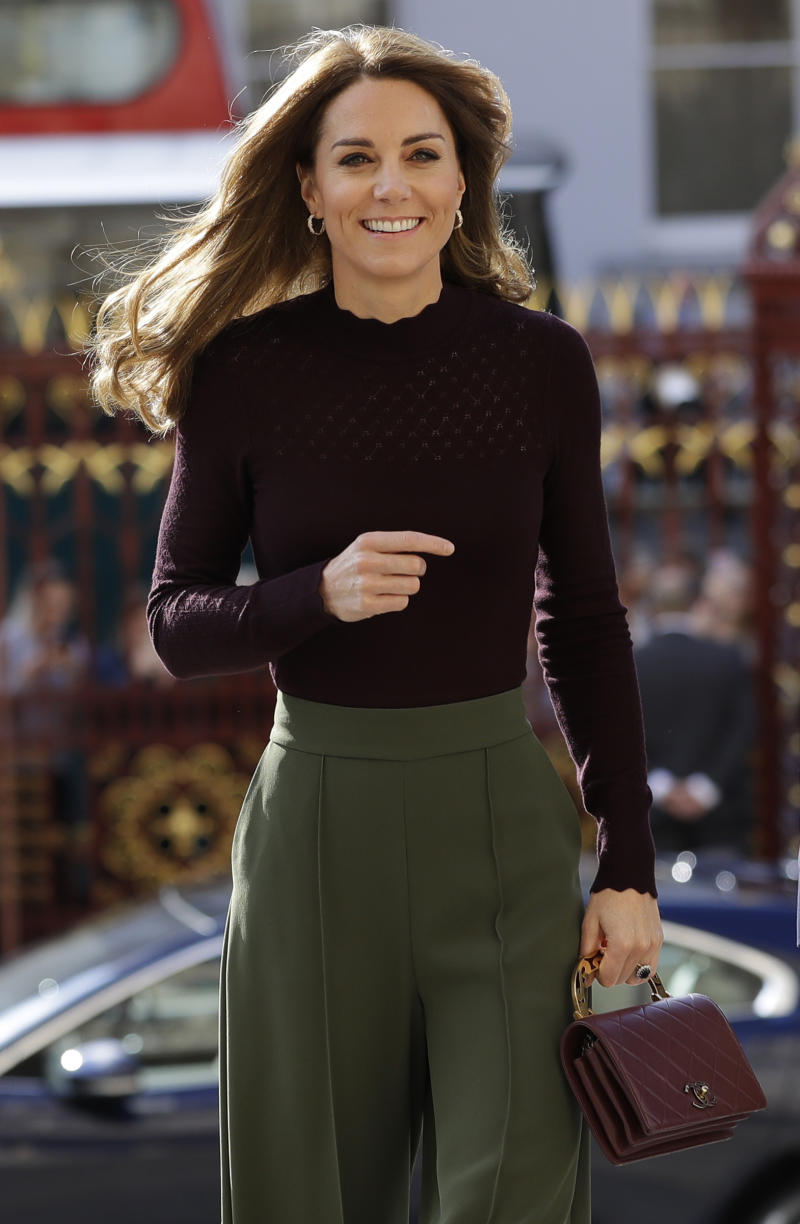 LONDON, ENGLAND - OCTOBER 09: Catherine, Duchess of Cambridge arrives at The Angela Marmont Centre For UK Biodiversity at Natural History Museum on October 9, 2019 in London, England. HRH is Patron of the Natural History Museum. (Photo by Kirsty Wigglesworth - WPA Pool/Getty Images)