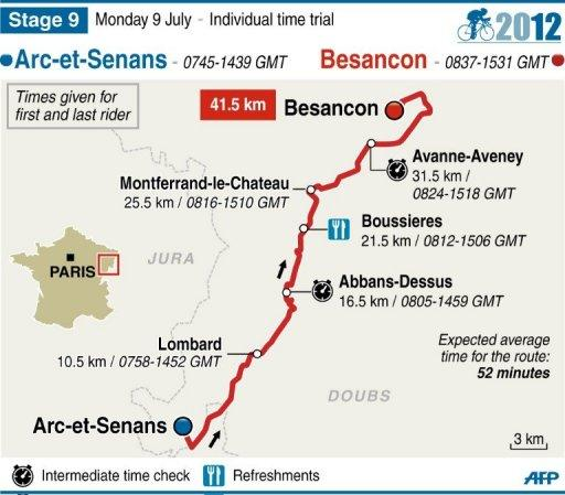 Map showing Stage 9 of the 2012 Tour de France, to be held on July 9