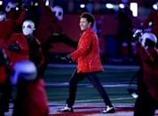 TAMPA, FLORIDA - FEBRUARY 07: The Weeknd performs during the Pepsi Super Bowl LV Halftime Show at Raymond James Stadium on February 07, 2021 in Tampa, Florida. (Photo by Patrick Smith/Getty Images)