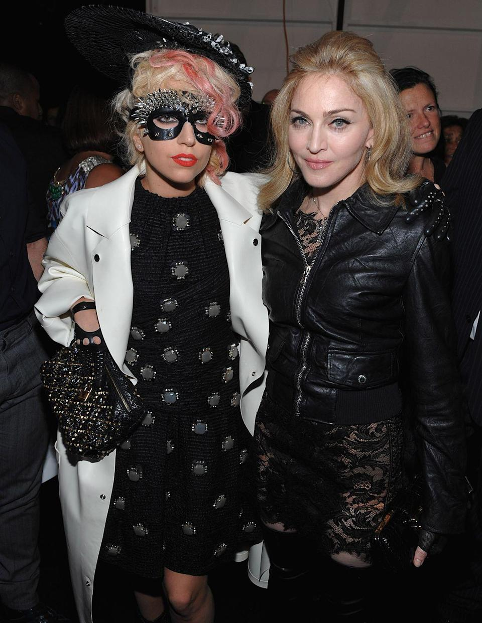 """<p>Rumors of a feud between the pop icons first started in 2011, when comparisons were drawn between Gaga's """"Born This Way"""" to Madonna's """"Express Yourself."""" Though Gaga denied any similarities, Madonna famously called Gaga's song """"reductive."""" Then, in 2015, <a href=""""https://www.rollingstone.com/music/music-news/madonna-fights-back-inside-rolling-stones-new-issue-104684/"""" rel=""""nofollow noopener"""" target=""""_blank"""" data-ylk=""""slk:Madonna revealed"""" class=""""link rapid-noclick-resp"""">Madonna revealed</a> that the only time she had an issue with Gaga was when she felt like she """"blatantly ripped off"""" her song. """"It's got nothing to do with 'she's taking my crown' or 'she's in some space of mine.' She has her thing,"""" she said. """"I do think she's a very talented singer and songwriter. It was just that one issue.""""<br></p>"""