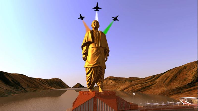Handout of a still image from video showing an artist's rendering of a statue of Sardar Vallabhbhai Patel