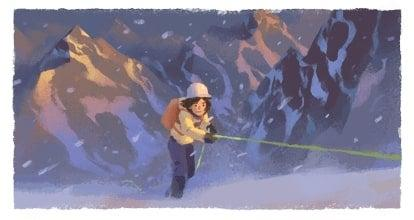 Wanda Rutkiewicz is being celebrated in the Google Doodle (Google)