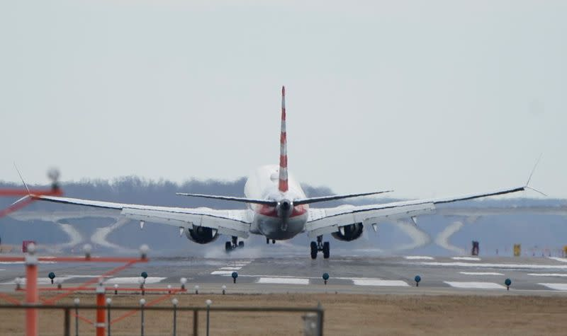 An American Airlines Boeing 737 MAX 8 flight lands at Reagan National Airport in Washington