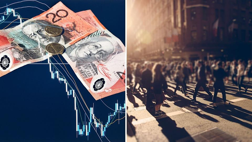 Graphic of Australian $20 notes on investing chart, pedestrians in Australia.