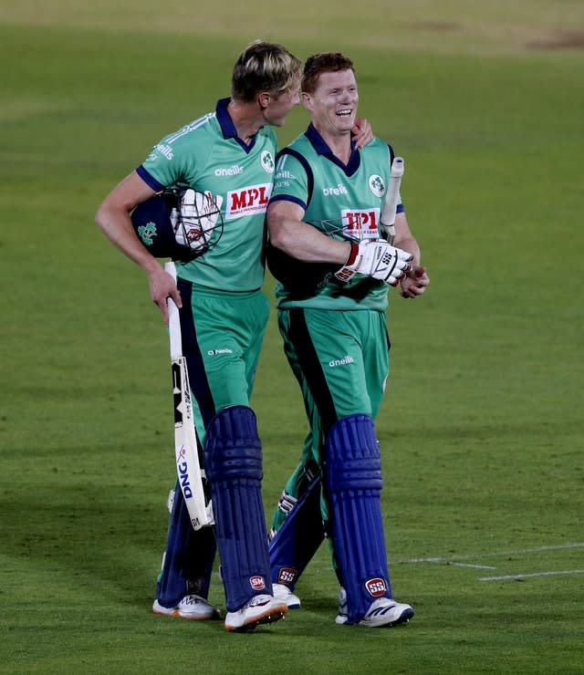 Ireland's Harry Tector (left) celebrates with Kevin O'Brien after completing the victory (Adrian Dennis/PA)
