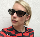 """Emma Roberts's hairstylist <a href=""""https://www.instagram.com/mrchrismcmillan/?hl=en"""" rel=""""nofollow noopener"""" target=""""_blank"""" data-ylk=""""slk:Chris McMillan"""" class=""""link rapid-noclick-resp"""">Chris McMillan</a> (and the man behind Jennifer Aniston's iconic Rachel cut) called this short chop a """"hairline bob,"""" probably because it looks so good slicked back. Paired with sunnies and stripes, it's giving us total Winona in <em>Reality Bites</em> vibes."""