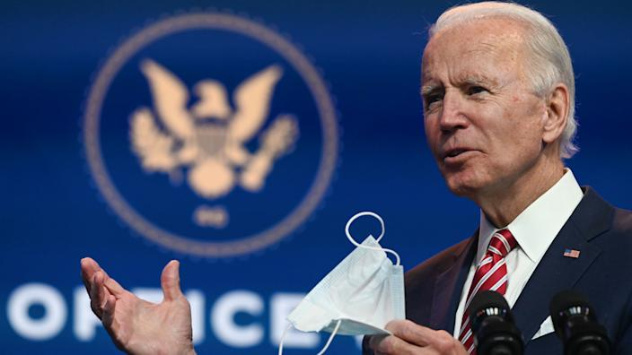 US President-elect Joe Biden answers questions from the press at The Queen in Wilmington, Delaware on November 16, 2020. (Roberto Schmidt/AFP via Getty Images)