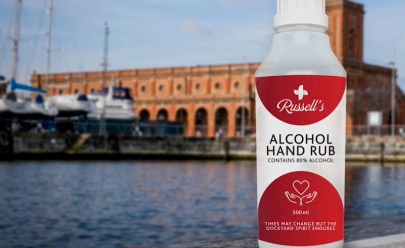 Hand sanitiser produced by the Copper Rivet Distillery for the Met Police. (Met Police)