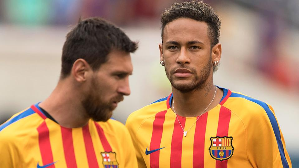 Former teammates Lionel Messi and Neymar are pictured here during their time together at Barcelona.
