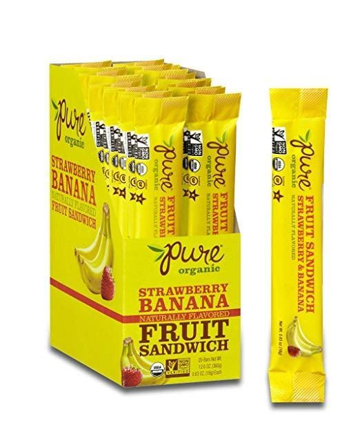 <p>If you survived on fruit leathers as a child, you'll freak out over these insanely delicious <span>Pure Organic Strawberry Banana Layered Fruit Bars</span> ($15 for 20 bars).</p>