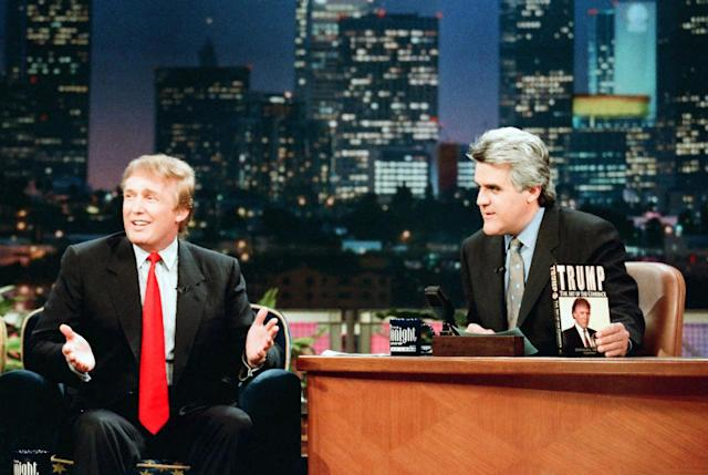 <p>Donald Trump during an interview with <i>Tonight Show</i> host Jay Leno on Nov. 19, 1997.<i> (Photo: Margaret Norton/NBC/Getty Images)</i> </p>
