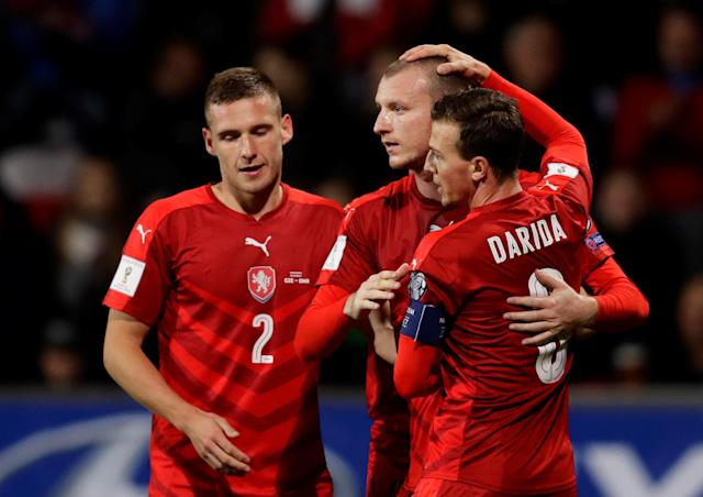 Soccer Football - 2018 World Cup Qualifications – Europe – Czech Republic vs San Marino - Doosan Arena, Pilsen, Czech Republic - October 8, 2017 Czech Republic's Michal Krmencik celebrates scoring their second goal with team mates REUTERS/David Cerny