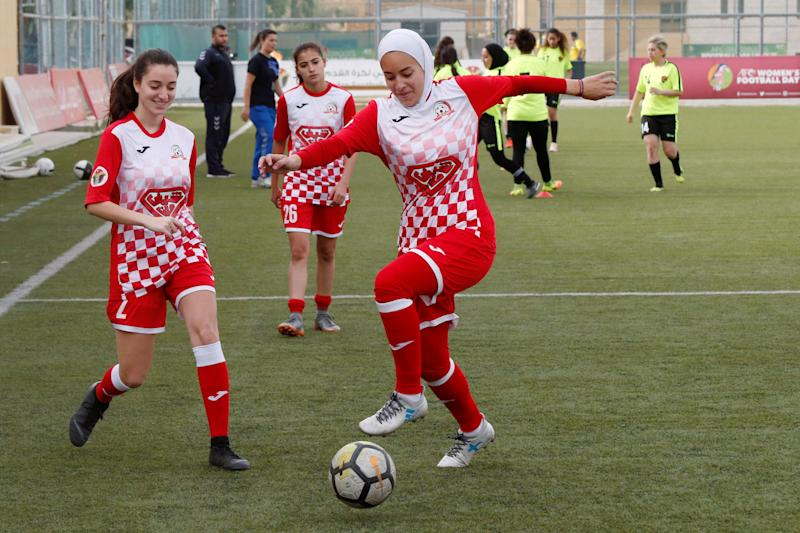 Players of Shabab Al-Ordon Club participate in a training session before their Jordan Women's Pro League soccer match against Al Ahli Club in Amman, Jordan, June 8, 2019.REUTERS/Muhammad Hamed
