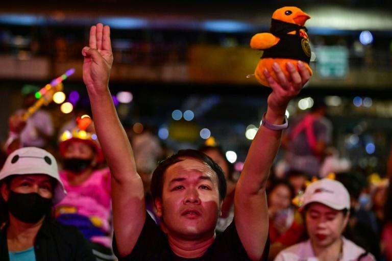Thousands took to the streets of Bangkok on Wednesday night