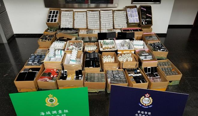 Among the good seized were watches, mobile phones, electronics, medicine, and powdered formula, with an estimated HK$2.5 million. Photo: Handout