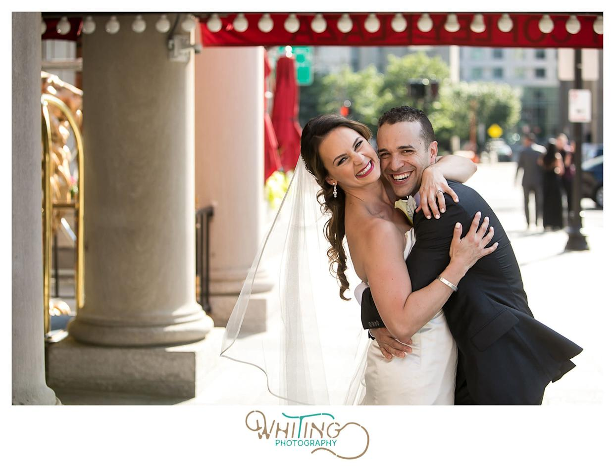 """""""Jessica Lorion Haugh and Kevin Martinez Rivera married on July 16 with a ceremony at St. Cecilia Parish in Boston&nbsp;and a reception at Fairmont Copley Plaza."""" -- <i>Marisa Lorion</i>"""