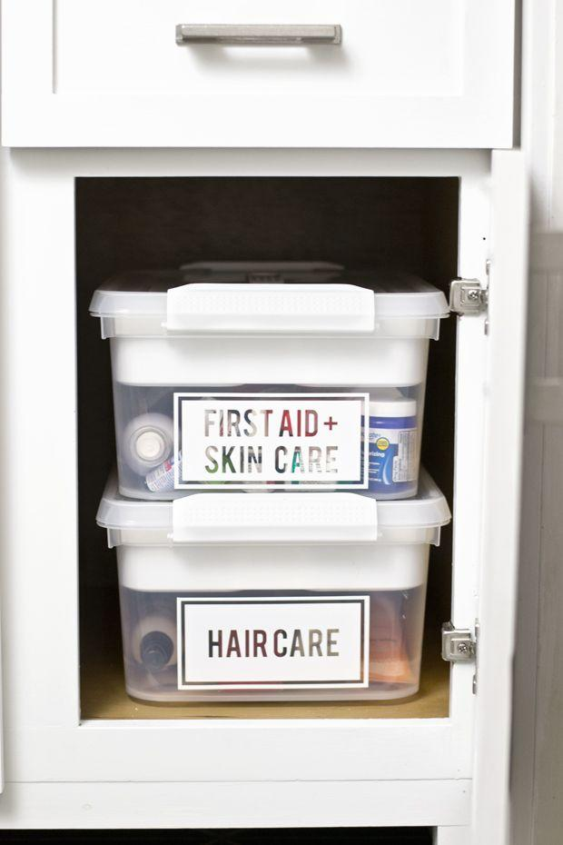 "<p>Want to stop opening five different boxes every time you need a bandaid? Labels are your new best friend.</p><p>See more at <a rel=""nofollow"" href=""http://www.dorseydesigns.com/bathroom-organization-lower-bathroo/"">Dorsey Designs</a>.</p>"