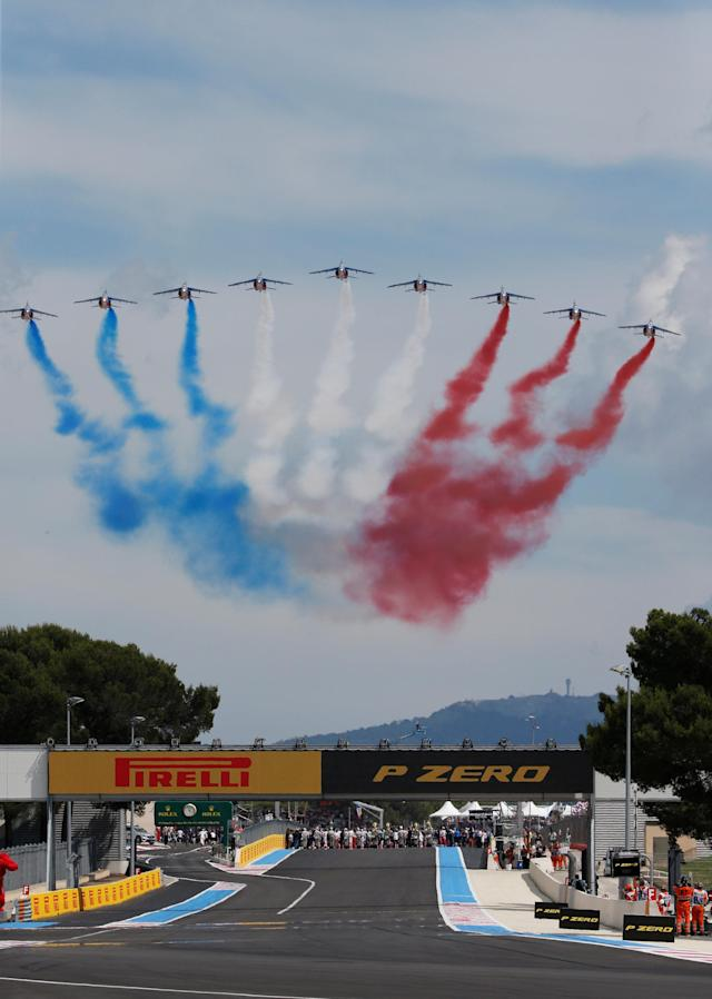 Formula One F1 - French Grand Prix - Circuit Paul Ricard, Le Castellet, France - June 24, 2018 Planes flying over the track display the French flag colours before the race REUTERS/Jean-Paul Pelissier