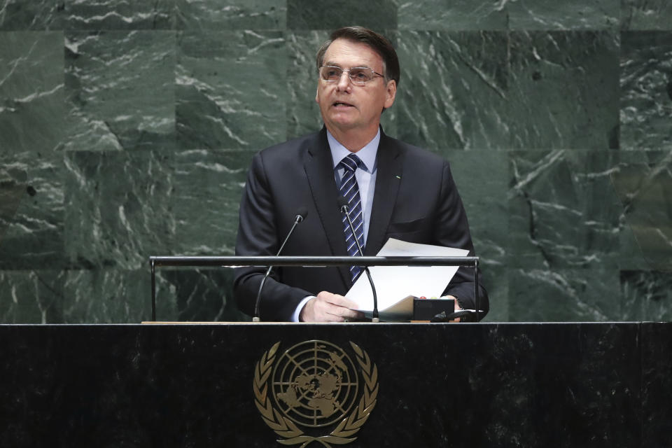 NEW YORK, NY - SEPTEMBER 24:  President of Brazil Jair Messias Bolsonaro addresses the United Nations General Assembly at UN headquarters on September 24, 2019 in New York City. World leaders from across the globe are gathered at the 74th session of the UN General Assembly, amid crises ranging from climate change to possible conflict between Iran and the United States. (Photo by Drew Angerer/Getty Images)
