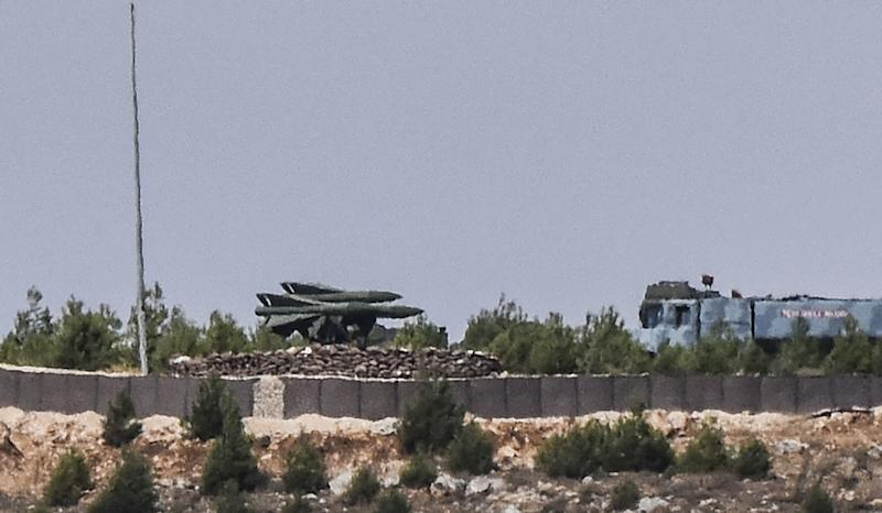 This picture taken on September 5, 2016, in the southern Turkish region of Gaziantep, shows a High Mobility Artillery Rocket System (HIMARS) standing ready for deployment