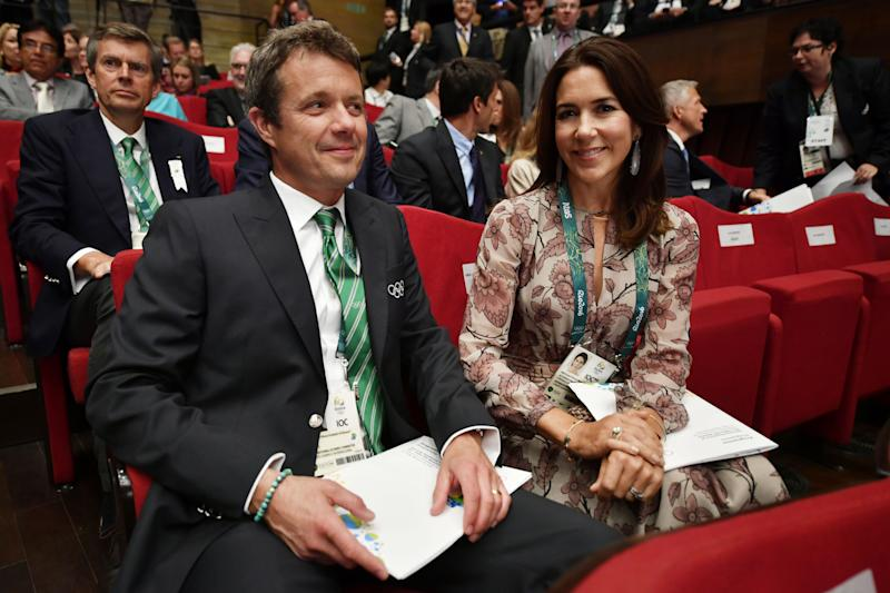 Frederik, Crown Prince of Denmark and Crown Princess Mary of Denmark attend the opening ceremony of the 129th International Olympic Committee session, in Rio de Janeiro on August 1, 2016, ahead of the Rio 2016 Olympic Games.