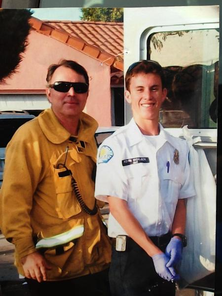 This undated photo courtesy of the the Woyjeck family shows firefighter, Kevin Woyjeck, right, and his father, Los Angeles County Fire Capt. Joe Woyjeck. Kevin Woyjeck of Seal Beach, Calif., was one of the 19 Granite Mountain Hotshot Crew, who was killed Sunday evening above the town of Yarnell, northwest of Phoenix in the nation's biggest loss of firefighters in a wildfire in 80 years. (AP Photo/Woyjeck Family)