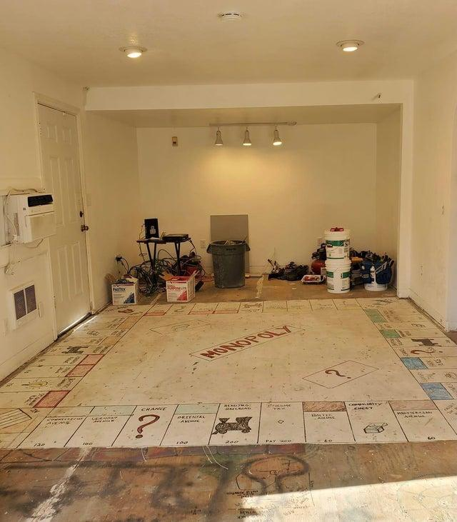 The giant Monopoly board painted on the floor.
