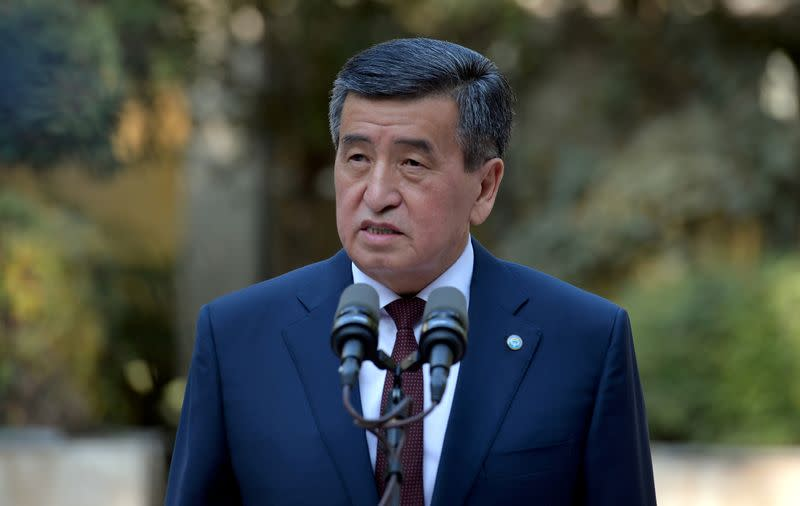 FILE PHOTO - Kyrgyzstan's President Sooronbai Jeenbekov speaks after a vote at a parliamentary elections in Bishkek