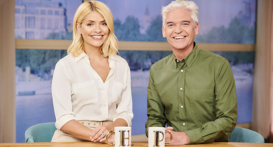 "Phillip Schofield, Holly Willoughby and co. were kept on air this year with <a href=""https://uk.news.yahoo.com/tagged/this-morning/"" data-ylk=""slk:This Morning"" class=""link rapid-noclick-resp""><em>This Morning</em></a> airing weekdays as usual after ITV introduced new filming protocols as a result of the coronavirus. February saw Schofield <a href=""https://uk.news.yahoo.com/phillip-schofield-thanks-wife-and-daughters-for-support-as-he-comes-out-gay-100316046.html"" data-ylk=""slk:publicly come out;outcm:mb_qualified_link;_E:mb_qualified_link;ct:story;"" class=""link rapid-noclick-resp yahoo-link"">publicly come out</a> as gay as he gave an emotional interview with Willoughby on the programme. Meanwhile, show favourite Alison Hammond was also <a href=""https://uk.news.yahoo.com/alison-hammond-this-morning-itv-153917261.html"" data-ylk=""slk:given a promotion;outcm:mb_qualified_link;_E:mb_qualified_link;ct:story;"" class=""link rapid-noclick-resp yahoo-link"">given a promotion</a> for 2021. (ITV)"