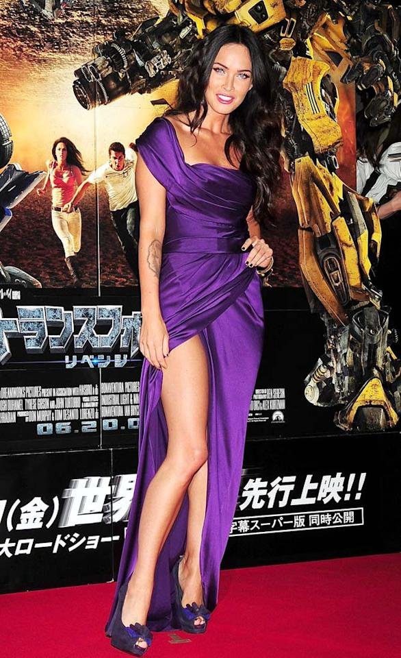 "Not to be outdone, Josh's costar, Megan Fox, set the red carpet on fire at the highly anticipated sequel's debut in a regal Donna Karan gown, gold bangles, and $365 bow-adorned Stuart Weitzman ""Frontpage"" platform pumps. Jun Sato/<a href=""http://www.wireimage.com"" target=""new"">WireImage.com</a> - June 8, 2009"
