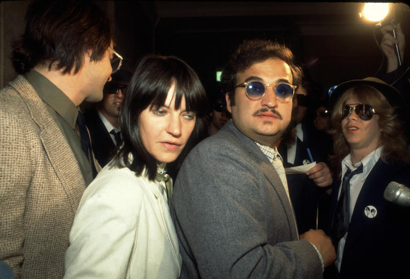 Actor John Belushi (1949 - 1982) and wife Judith attend an event to receive the key to the city from Chicago Mayor Jane Byrne after the release of the movie 'Blues Brothers,' Chicago, Illinois, June 17, 1980. (Photo by Paul Natkin/Getty Images)