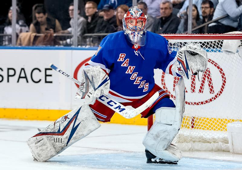 New York Rangers Goalie Igor Shesterkin (31) in action during the National Hockey League