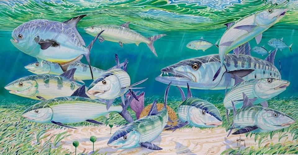 """The 21"""" x 40.5"""" Skinny Waters by Guy Harvey is included in the new marine expeditions art exhibit at the Miami International Fine Arts Gallery. A portion of the proceeds from sales of artwork will benefit ocean conservation."""