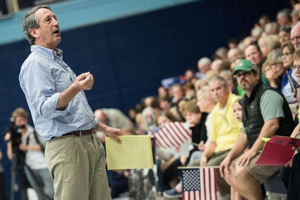 PHOTO: Rep. Mark Sanford (R-SC) addresses the crowd during a town hall meeting, March 18, 2017, in Hilton Head, S.C. (Sean Rayford/Getty Images)
