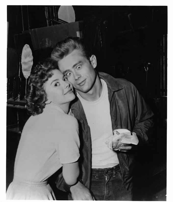 <p>Child star Natalie Wood goofs around with her costar, James Dean, while on the set of <em>Rebel Without a Cause</em>.  </p>