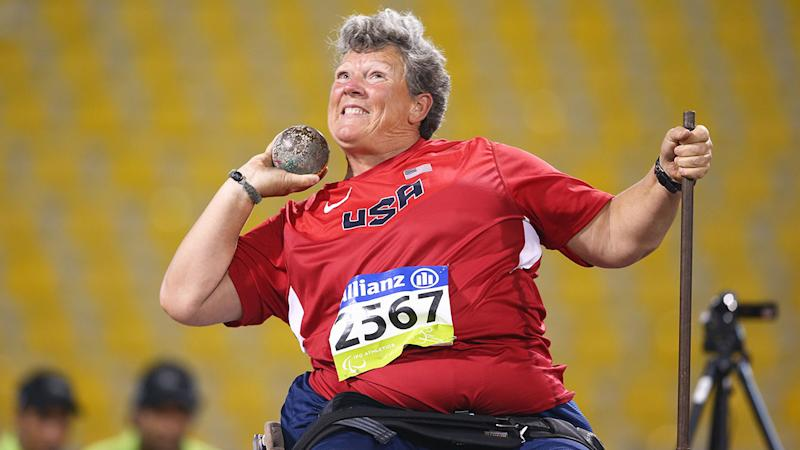 Pictured here, Madsen competing for the USA in shot put.