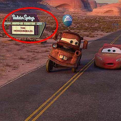 """<p>It seems like everybody just wants to watch some version of <em>The Incredibles</em>. In addition to the characters' cameo in the Land of the Dead in <em>Coco</em>, when Mater and Lightning McQueen pass a movie marquee in <em>Cars 2</em>, the movie playing is """"The Incredimobiles."""" Not coincidentally, """"The Incredimobile"""" is what Mr. Incredible calls his car in <em>Incredibles 2.</em></p>"""