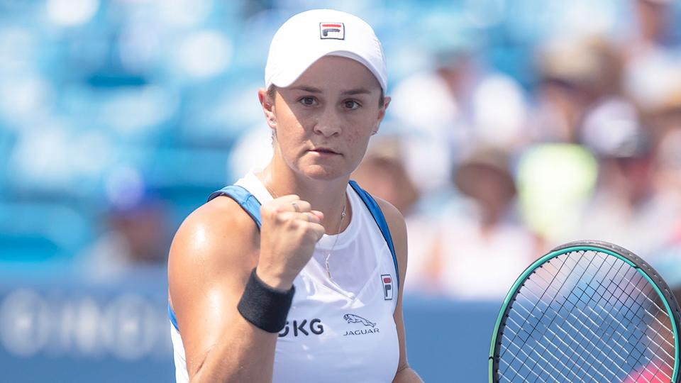 Pictured here, Ash Barty pumps a fist at the Cincinnati Masters.