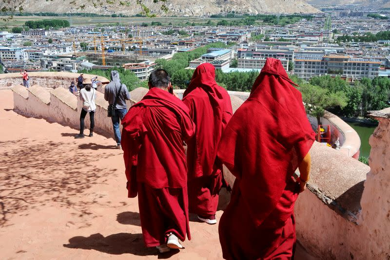 Government-organised media tour to the Potala Palace in Lhasa