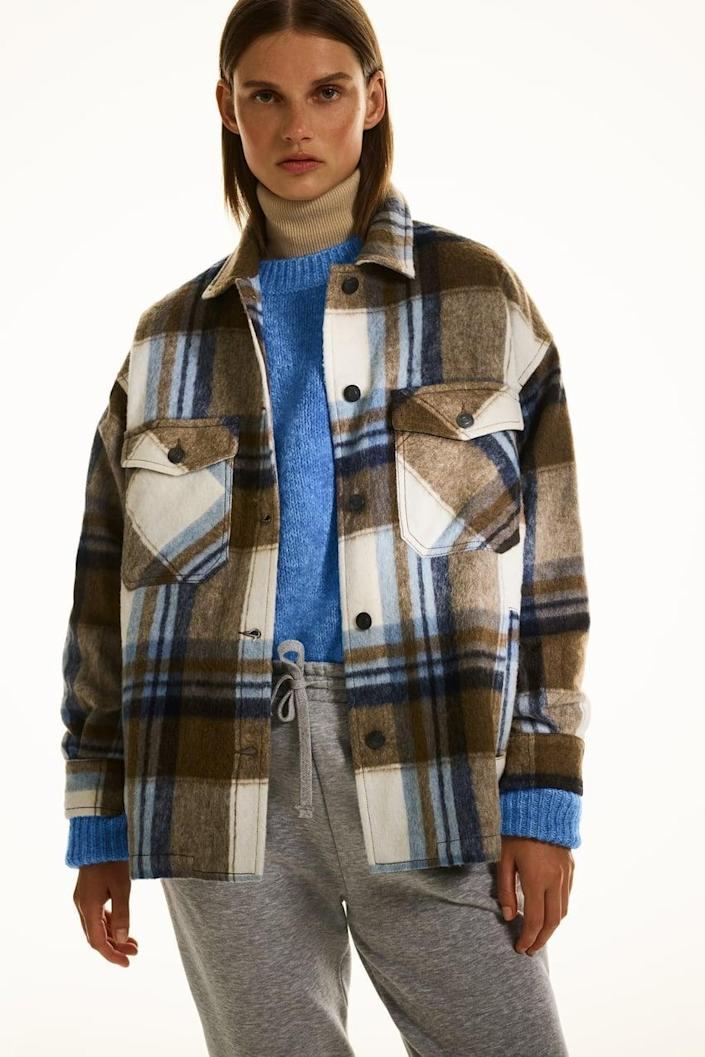 <p>This <span>Zara Wool-Blend Plaid Overshirt</span> ($36, originally $70) feels incredibly soft (trust us, we touched it IRL).</p>