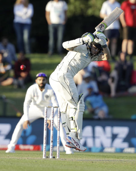 New Zealand's Tom Latham reacts while batting during play on day one of the second cricket test between New Zealand and India at Hagley Oval in Christchurch, New Zealand, Saturday, Feb. 29, 2020. (AP Photo/Mark Baker)