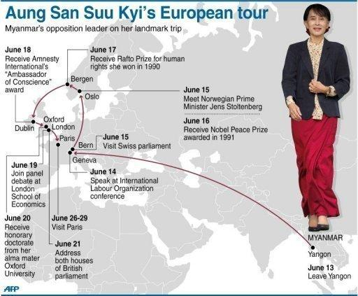Graphic showing Aung San Suu Kyi's updated European tour itinerary. Suu Kyi began a bittersweet return to Britain on Tuesday, during which she will address both houses of parliament and have an emotional family reunion after nearly 25 years in Myanmar