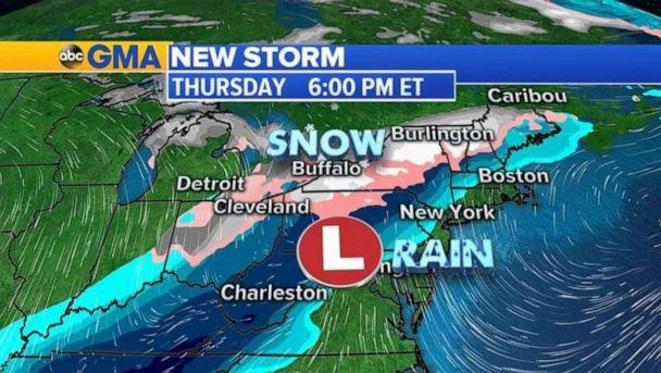 PHOTO: Most major cities along I-95 corridor will be warm enough for just rain and will manage to avoid snow. (ABC News)