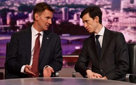 Britain's prime ministerial candidate Jeremy Hunt and Rory Stewart  appear on BBC TV's The Andrew Marr Show in London