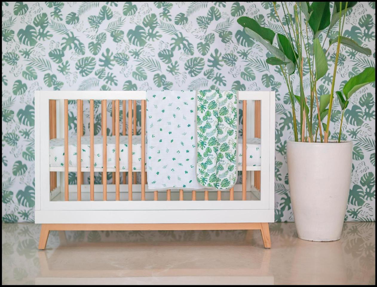 "The watercolour renderings of Masilo's <a href=""https://fave.co/35Bv53Z"">Tropical Vibes Only</a> cot bedding set will transport your little one to lush dreamlands. Made in bamboo muslin, the set includes one pillow and two bolsters (with inserts), a snuggle blanket, a fitted cot sheet and one shape cushion. <em>Rs. 10,000.</em>"