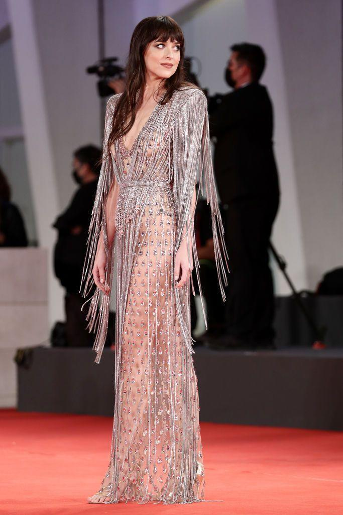 <p>Johnson stepped into a sheer Gucci gown on the red carpet. </p>